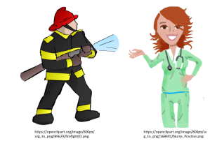 firefighter and nurse