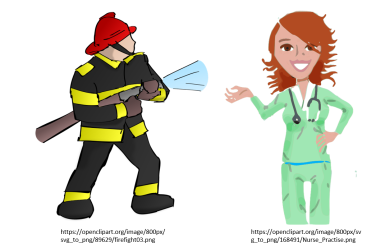 firefighter and nurse