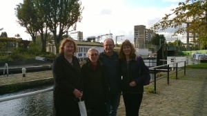 Norah, Anne, Geoff, Lisa beside the lock