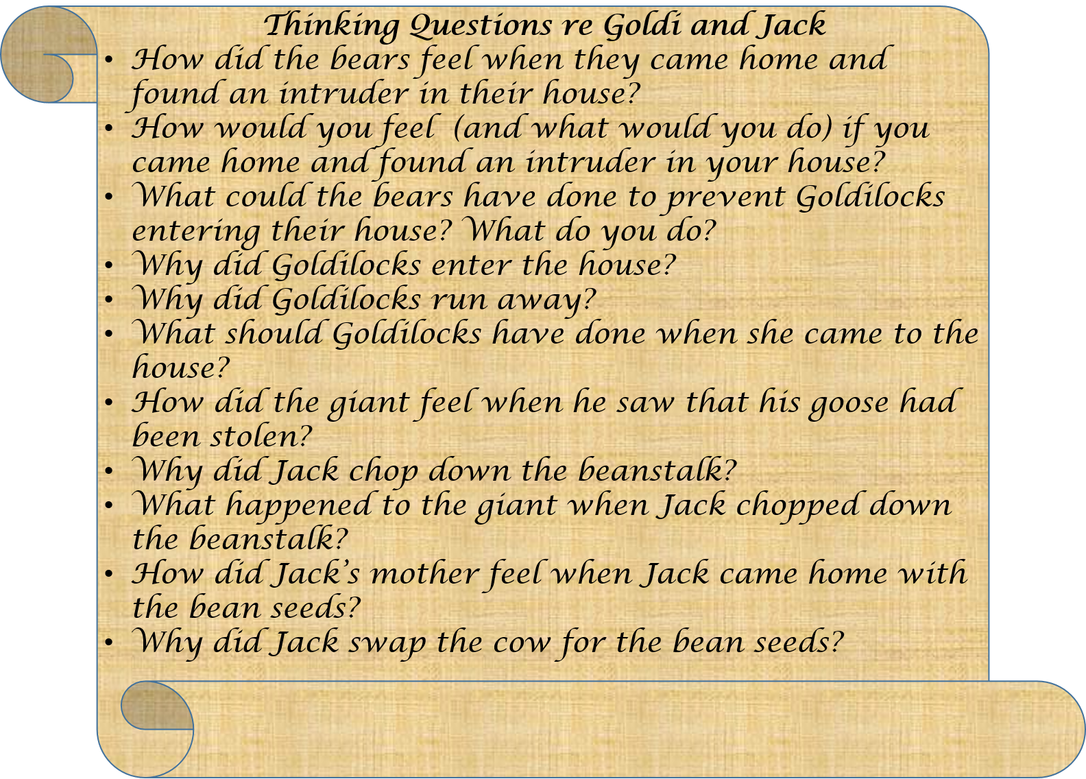 Questions re Goldi and Jack