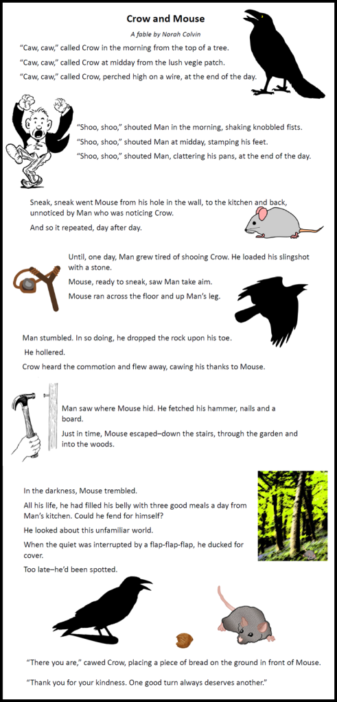 a fable about crow and mouse in which mouse helps crow and crow helps mouse