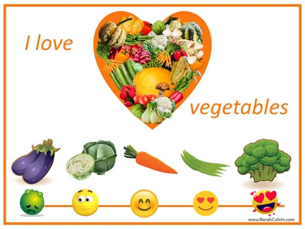 love of vegetables on a continuum