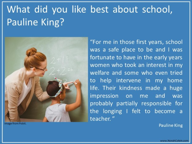 Pauline King the Contented Crafter tells what she liked best about school