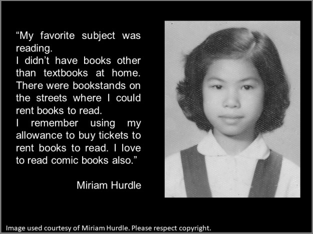 Miriam Hurdle's favourite subject at school was reading
