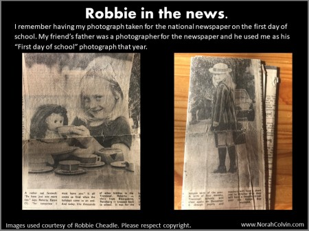 Robbie Cheadle as a school girl in the news