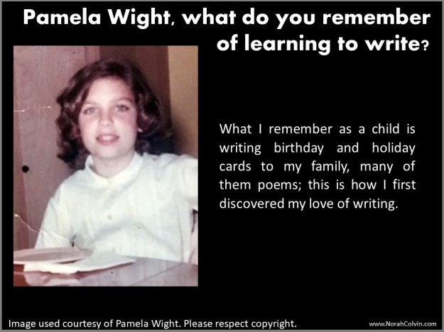 Pamela Wight learning to write