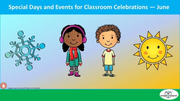 Special days and events for classroom celebrations - June