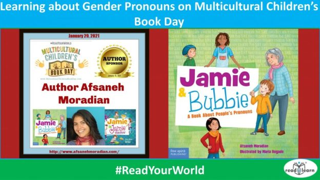 learning about gender pronounds on Multicultural Children's Book Day